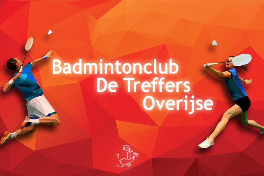 Afbeelding met twee badmintonspelers en het logo van de treffers