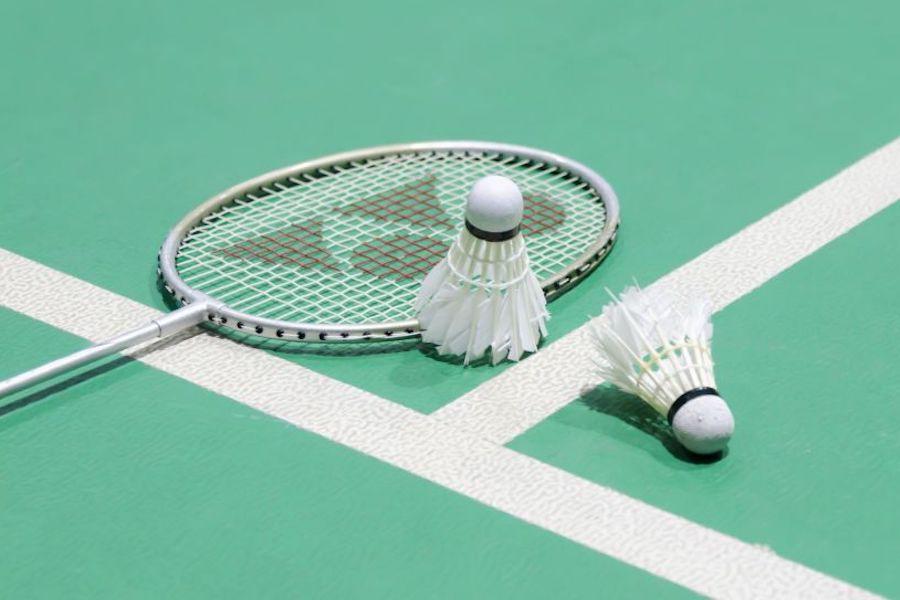 Badmintonshuttles op veld